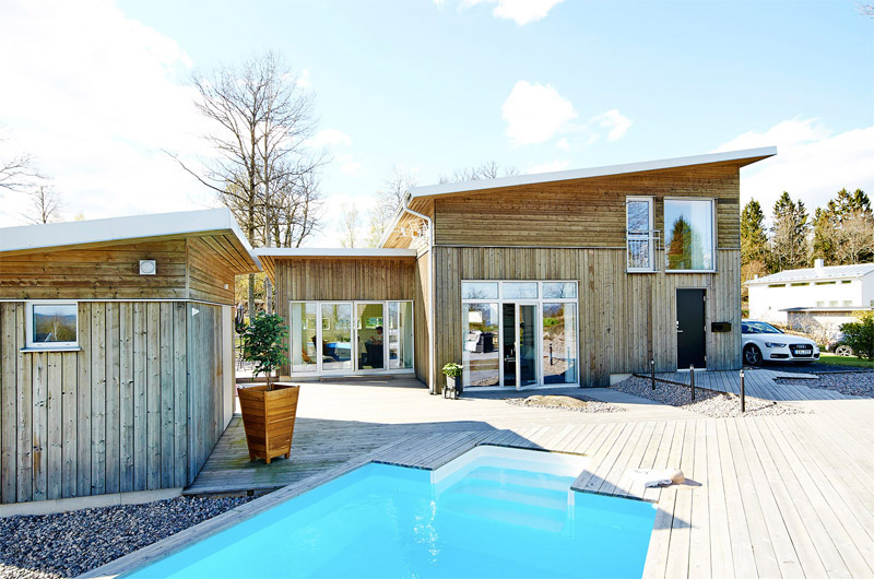 Modern Wooden House With A Pool
