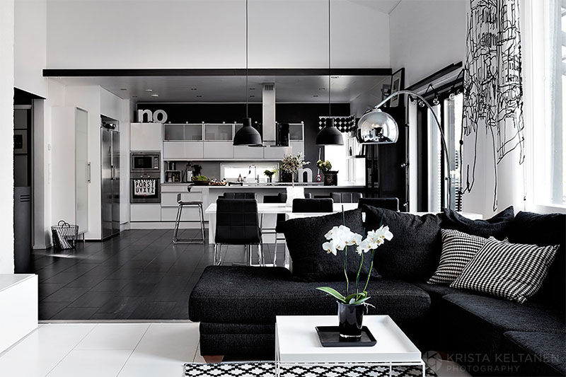 Elegant black and white interior design with comfortable for Interior house designs black and white