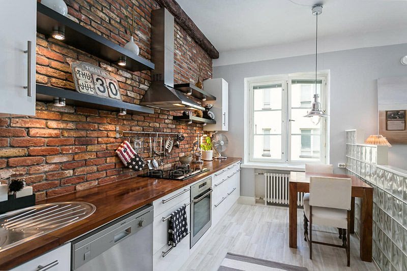 Compact Apartment Interior Design With Rustic Brick
