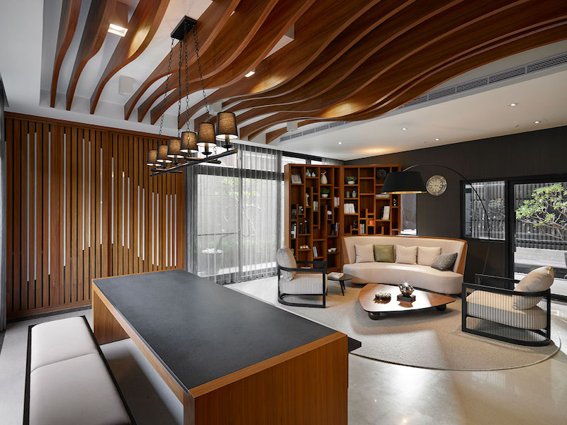 Taipei apartment building lounge area by Yu Ya Ching Interior Design