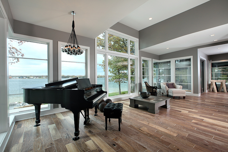 Home design meets west coast aesthetic with an asian influence for Grand piano in living room
