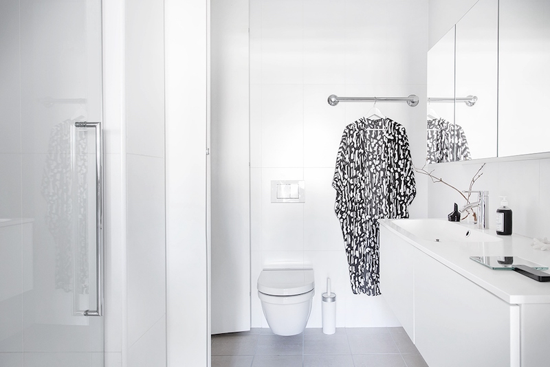 Bright scandinavian interior design showing the force of white for All white bathroom designs