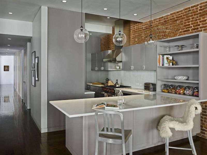 Grey Kitchen Manhattan Apartment Oda Architecture