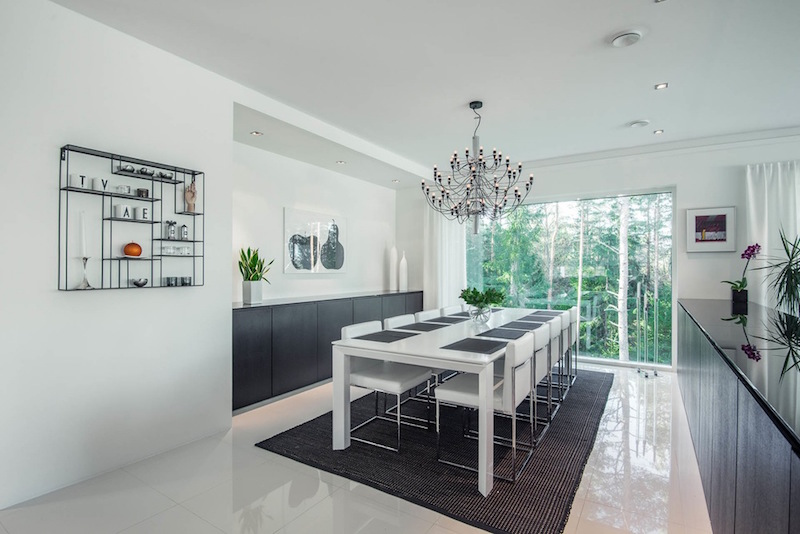 House design with a contemporary black and white palette for Interior design for dining area