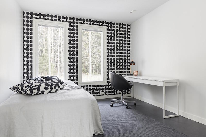 Interior design in black and white with bold effects Scandinavian wallpaper and decor