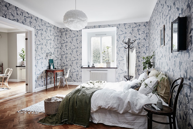 Scandinavian style and bold wallpaper in bedroom Scandinavian wallpaper and decor