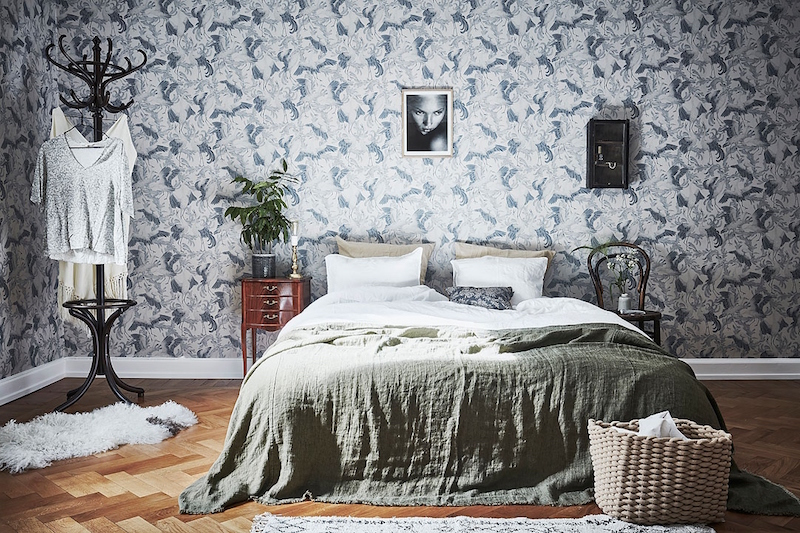 Scandinavian Style And Bold Wallpaper In Bedroom