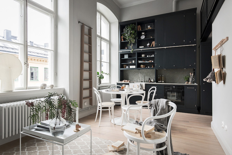Small Apartment Black White Loft Kitchen