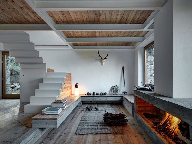 Natural Elements Like Stone Larch And Iron Creating An Amazing House In The Alps Casa Design