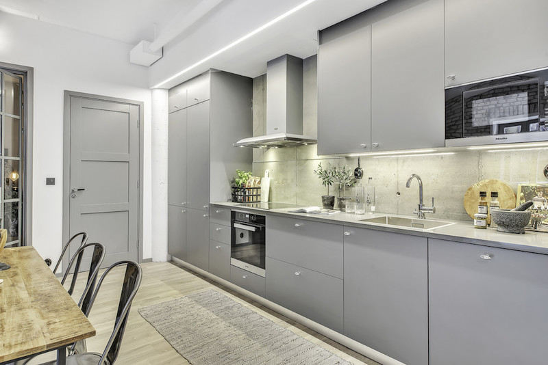 kitchen-cabinets-industrial-style-apartment | Hall of Homes