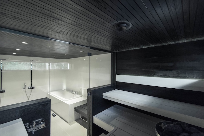 House interior design white grey modern sauna for Interior house designs black and white